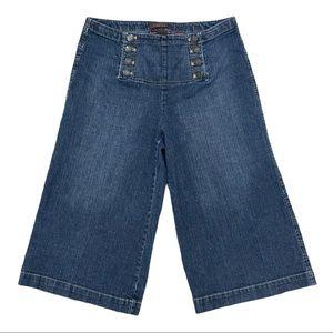 Stretch high rise wide leg crop jeans boho